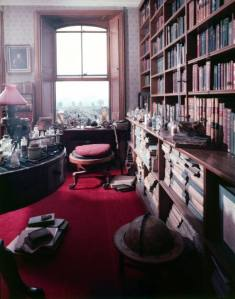 Library study of famed naturalist Charles Darwin (1958)